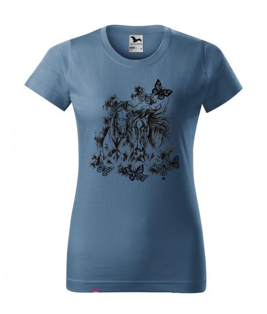 Dámské tričko - koně a motýli