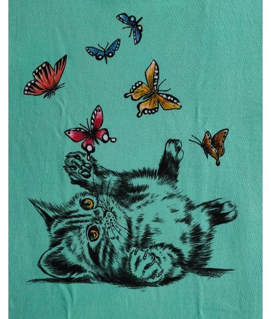 Dětské tričko - Kotě a motýli
