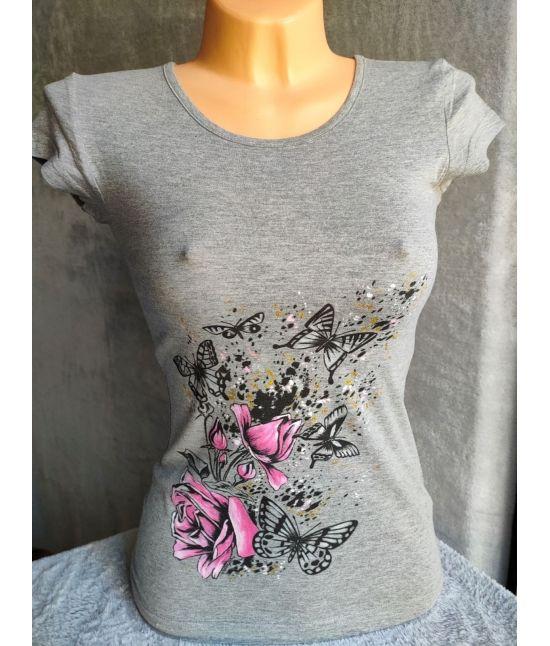 Dámské tričko - Růže s motýly