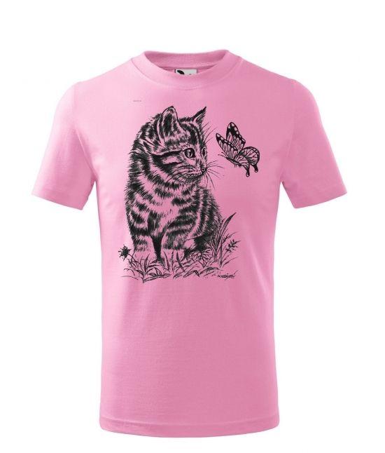 Dětské tričko - Kotě a motýl
