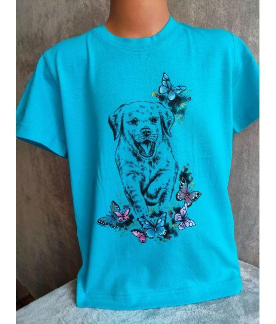 Dětské tričko - Štěně,motýli