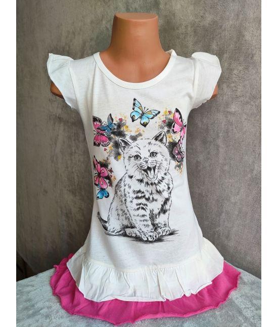 Dětské šaty - Kotě,motýli